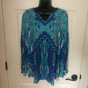 Sharon Young Turquoise Dress Blouse